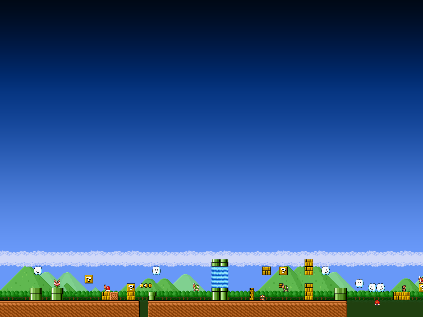 Many of these 8-bit inspired backgrounds look quite nice as homescreen wallpapers on Android phones. Bearded Super Mario, wooden Mario, and this platform ...